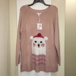 New Large LC Lauren Conrad Pink Christmas Sweater